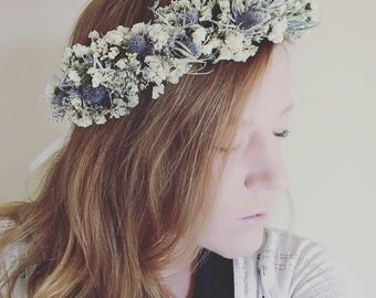 Handmade bridal real dried floral flower crown blue bristle white statice purple caspia natural nature hair wreath wedding garden