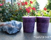 AMETHYST Crystal Spell Votives - Palm Wax Votives - Unscented Votives - Pagan Ritual Supplies, Wiccan Ritual Supplies, Altar Candles