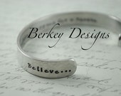 Graduation Gift -She Believed She Could So She Did Secret Message Hand Stamped Bracelet- Personalized Bracelet