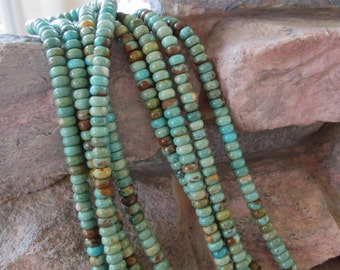"Natural Turquoise Rondelle Bead 6 MM Green Blue 8"" Gemstone"