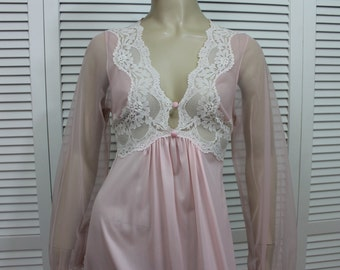 Vintage Glydons of Hollywood Negligee/Nightgown Pink/White Size Small 1960s Rare