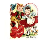 Large Dancing A Jig Valentine Card 1960s Grade School February 14 Holiday Ephemera Pre Used