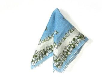White Rose Buds Pastel Blue Bordered Womens Square Hankie Something Blue Bridal Handkerchief