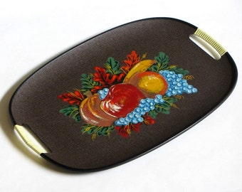 Autumn Harvest Serving Platter Fall Fruits Tray Wrapped Handles Vibrant Color Enesco Kitchen Dining Mid Century Decor