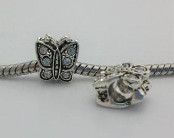 3 Beads- Butterfly Rhinestone Silver European Bead Charm E1543