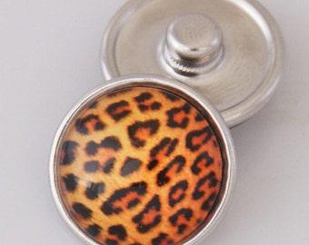 1 PC 18MM Glass Dome Orange Cheetah Print Silver Snap Candy Charm KB2502-aa Cc1447