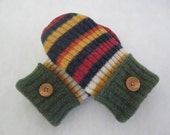 Child's lambswool mittens multistriped fleece lined age 6-8 RTS