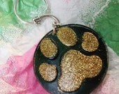 Paw Print Keyrings - Black and Gold