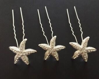 starfish - Set of 3 clear Crystal starfish bridal Hair Pins, wedding pins