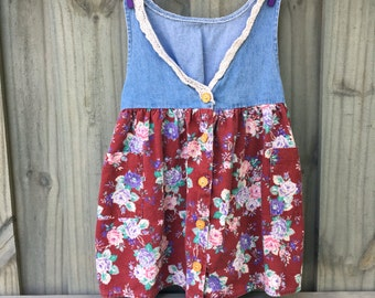Vintage 90s  Denim Flower Dress 4t