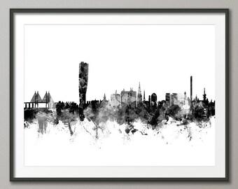 Malmo Skyline, Malmo Sweden Cityscape Art Print (2373)