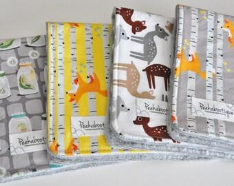 BABY Burp cloths-set of 4, deer, fox and bugs in jars
