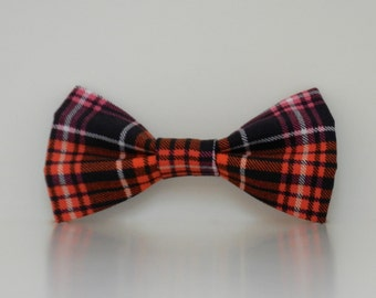 Halloween Orange Black Plaid Fall Winter Dog Bow Tie Made to Order