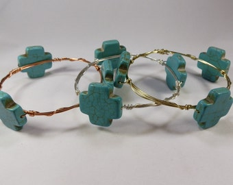 Turquoise Cross Wire-Wrapped Bracelet -- Three Stone Chunky Bangle Stacked Gold Handmade Gift Gold Silver Copper