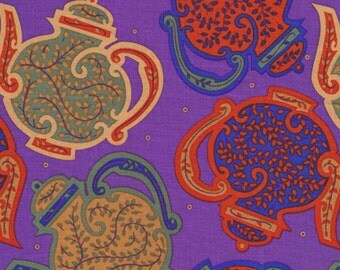 1/2 Yard Kaffe Fassett for Liberty Art Fabric - Mayfair Collection - Tea Pots - Dark