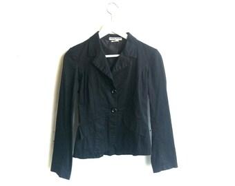 70s black cotton jacket / vintage lightweight tailored blazer xs/s