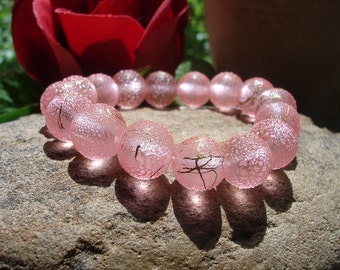 Textured Pink Resin Beaded Stretch Bracelet, OOAK Jewelry, Stackable Bracelets, Vintage Style