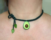 avocado necklace, chocker avocado, crochet necklace