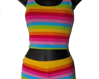 Cotton Lycra Hotpants & Crop Top Set Rainbow Stripes