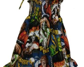 Robert Kaufman Monsters pattern cotton shirred sundress 1-12 years