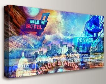 "Denver skyline, Cityscape, Canvas Wall Art - Rocky Mountains, Urban Art, Denver Colorado, Art, Collage, Modern Wall Decor - ""Mile High City"""