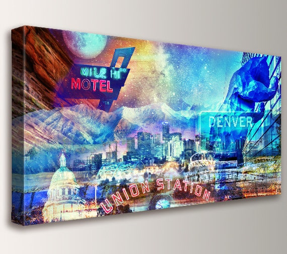 "Denver skyline, Cityscape, Canvas Wall Art - Rocky Mountains, Urban Art, Denver Colorado, Art, Collage, Modern Wall Decor - ""Mile High City"""
