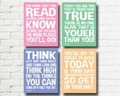 Dr Seuss Quotes Set of 4 Printable Digital Wall Art Word Art 8x10 Decorations