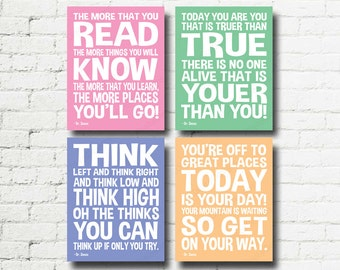 Dr Seuss Quotes Set of 4 Printable Digital Wall Art Word Art 8x10 Decorations