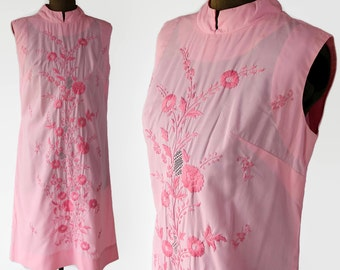 60s Dress Tesoros Shift Dress Nehru Collar Embroidered Pink Ethnic Boho