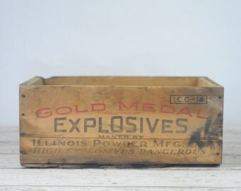 Vintage Gold Medal Wood Crate Box Mining Explosives Wooden Shipping Crate