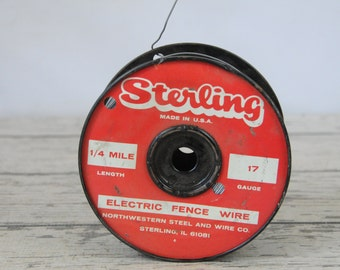 Spool Of Vintage Sterling Electric Fence Wire 17 Gauge 1/4 Mile  Wire On Metal Spool