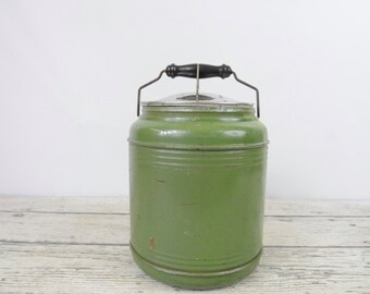 Vintage Knapp Monarch Green Metal Crock Stoneware Insulated Food Jug Thermos Camlock Lid