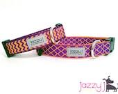 Clemson Tigers Chevron and Quatrefoil Trellis Dog Collar
