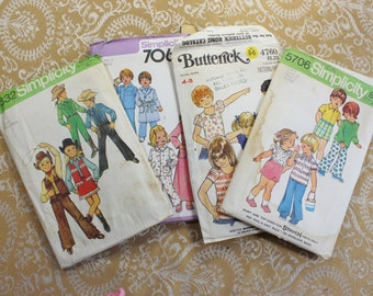 Four Vintage Children's Sewing Patterns- Sizes 4 /5- Boys and Girls, Unisex- Pajamas, robe, shirt, shorts, top, cowboy costume- Some uncut