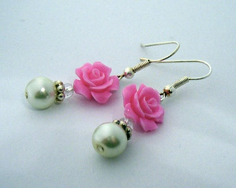Kitty (Bennet Sisters Collection) Rose and Pearl earrings