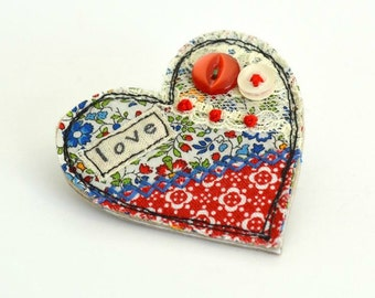 Red heart brooch, Heart pin, Heart badge, fabric heart brooch, textile heart brooch, red love heart,  valentine brooch, heart shaped brooch