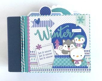 Winter Mini Album Kit or Pre-made Scrapbook Snow Snowman