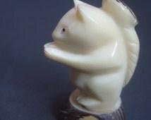 Hand Carved Artisan Vegetable Ivory Squirrel Figurine