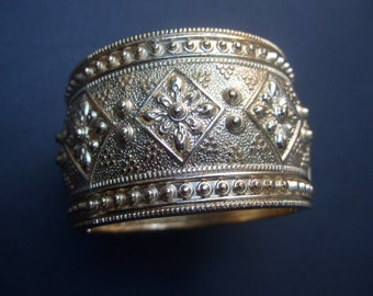 Ornate Wide Gilt Metal Hinged Cuff Bracelet
