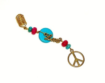 Dreadlock Jewelry - Antique Brass Love and Peace Charm Loc Jewel