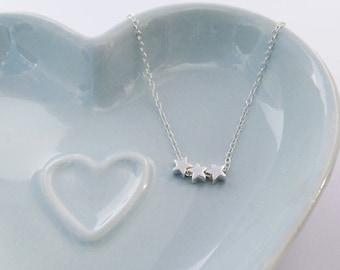 Tiny Silver Stars Necklace - Sterling Silver - 3 Stars