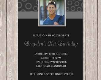 Birthday Invitation Personalised with Photo for 21st 30th 40th 50th - YOU PRINT