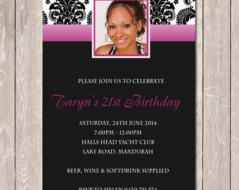 Birthday Invitation Personalised with Photo for 18th 21st 30th 40th - YOU PRINT
