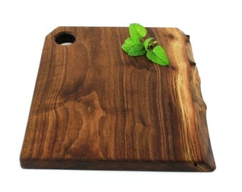 "Natural Edge Wine and Cheese Board Handmade from Walnut - Ready to Ship - 13""x11""x1"""