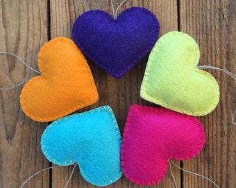 Bright Felt Heart Ornaments - Set of 5