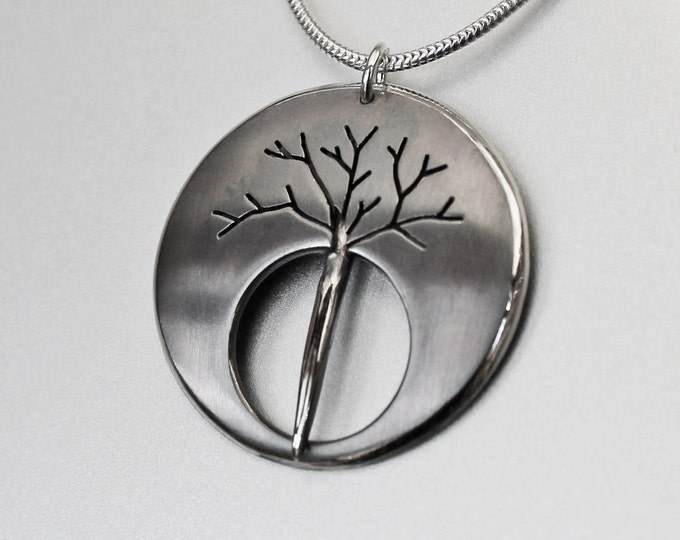 Silver Jewelry, Silver Pendant, Silver Jewellery, Oxidised Necklace, Midnight Tree
