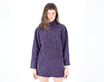 SALE - 80s POM POM Bauble Super Soft Chunky Cable Knit Turtleneck Oversized Slouchy Minimal Purple Sweater Dress