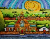 St Annes Church, Ynyshir A4 Rhonnda from Original Drawing by Gayle Rogers Made in Wales