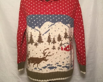 Ugly Christmas Sweater sizes small With a wonderful and natural snow scene with deer and house in the snow