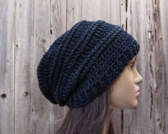 Crochet Hat - Wool Slouchy Hat Winter in Black Accessories Autumn Accessories Fall Fashion